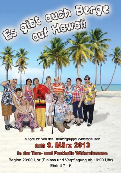 """Plakat der Theatergruppe Wittershausen zu """"Es gibt auch Berge auf Hawaii!"""""""