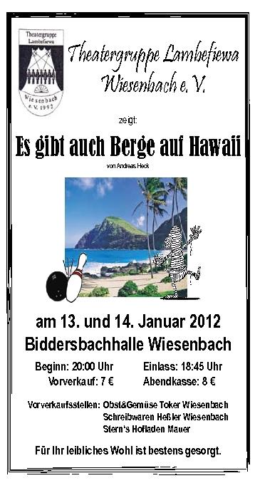 Plakat für Berge auf Hawaii der Theatergruppe Lambefiewa
