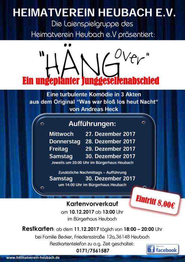 """Plakat der Theatergruppe im Heimatverein Heubach zu""""Häng over - Was war bloß los heut Nacht?"""""""