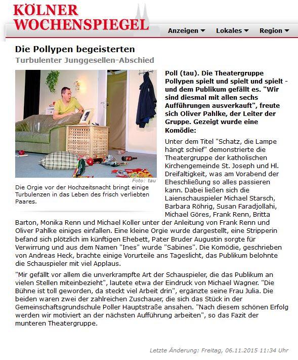 """Artikel aus dem Koelner Wochenspiegel zu """"Schatz, die Lampe hängt schief"""" der Pollypen"""