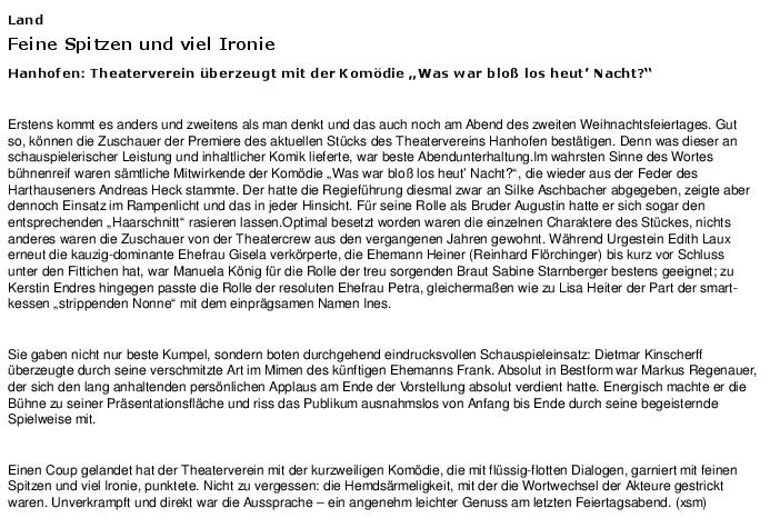 """Artikel aus der Rheinpfalz - Speyerer Rundschau zu """"Was war bloß los heut Nacht?"""""""