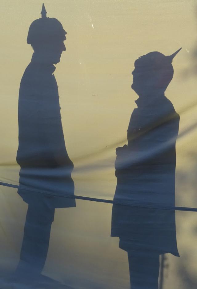 Schattenbild Soldaten mit Pickelhaube Tabakdorffest 2018