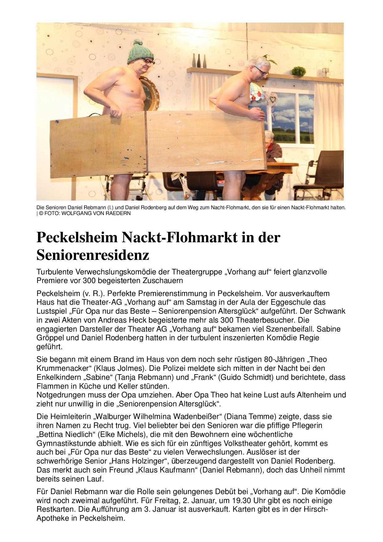 Pressebericht aus der Neuen Westfälischen zu Für Opa nur das Beste in Peckelsheim