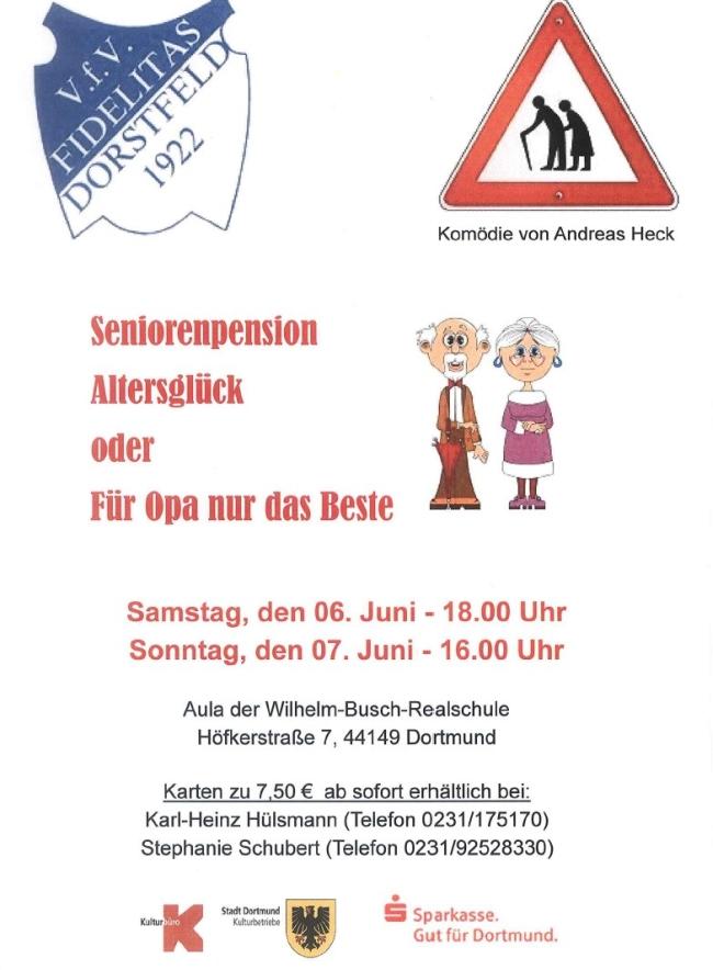 """Plakat des VFV Fidelitas Dorstfeld zu """"Für Opa nur das Beste!"""""""