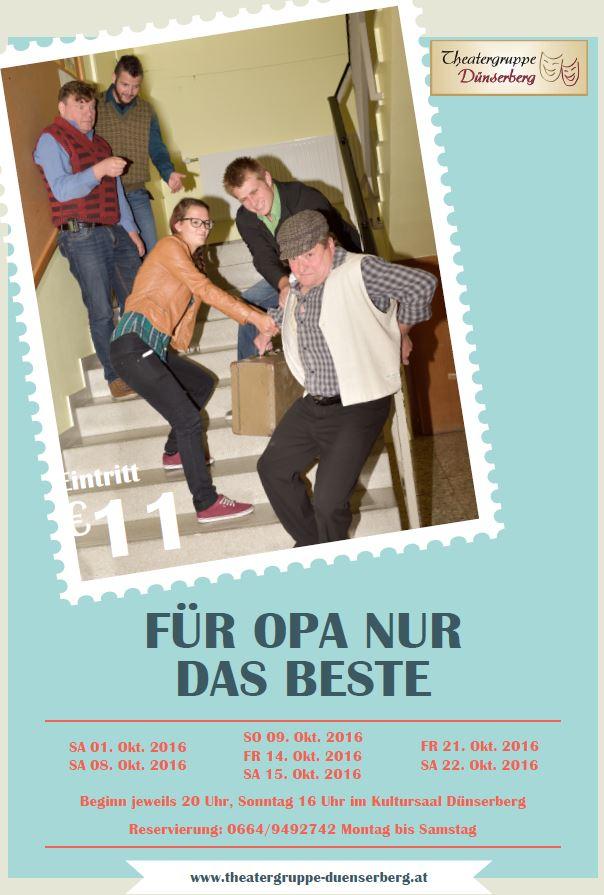 """Plakat der Theatergruppe Dünserberg zu """"Für Opa nur das Beste"""""""